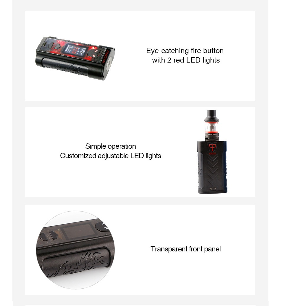 Fuchai MT-V 220W TC Kit with ST3 Tank Eve catching fire button with 2 red LED lights Simple operation Customized adiustable LED lights Transparent front pane