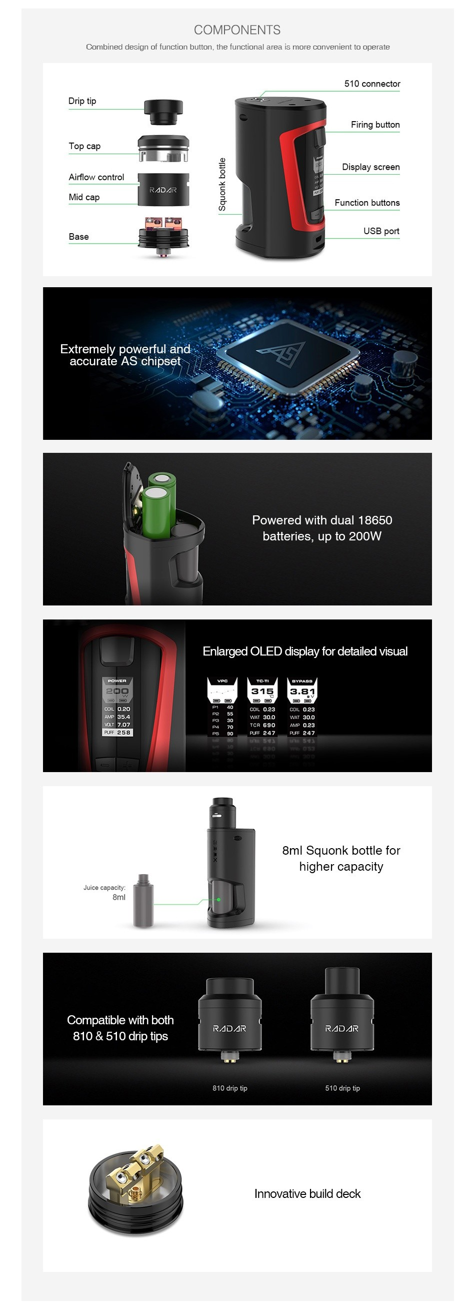 GeekVape GBOX Squonker 200W TC Kit with Radar RDA COMPONENTS Combined design ot tunction button  the functional area is more convenient to operate 510 connect Drip tip Firing button Display screen Airow ccntrol Function buttons  ase USB port EXtremely powerful ani accurate chipset  1 Powered with dual 18650 batteries  up to 200W Enlarged oled display for detailed visual    8ml squonk bottle for higher capacity Juice capacity  Compatible with both 10  510 drip tips Innovative build deck