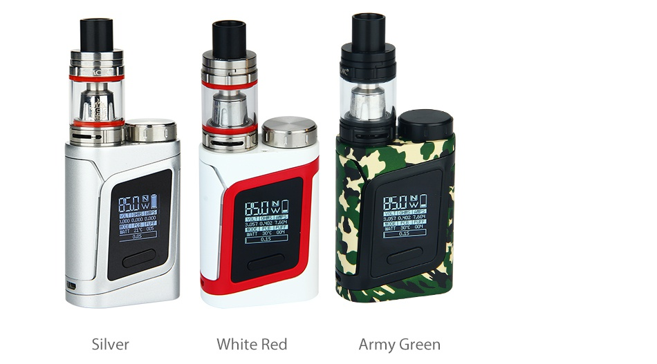 SMOK Alien Baby AL85 TC Starter Kit  n  Silver White red Army green