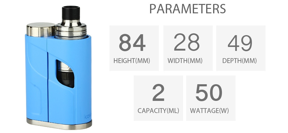 Eleaf iKonn Total with Ello Mini Full Kit 2ml PARAMETERS 842849 HEIGHT MM  WIDTH MM  DEPTH MM  250 CAPACITY ML  WATTAGE W