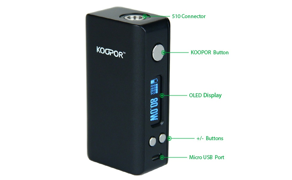 SMOK KOOPOR Mini V2 80W TC MOD CITY 10 Connector KOOPOR  KOOPOR Button OLED Display    Buttons Micro usB port