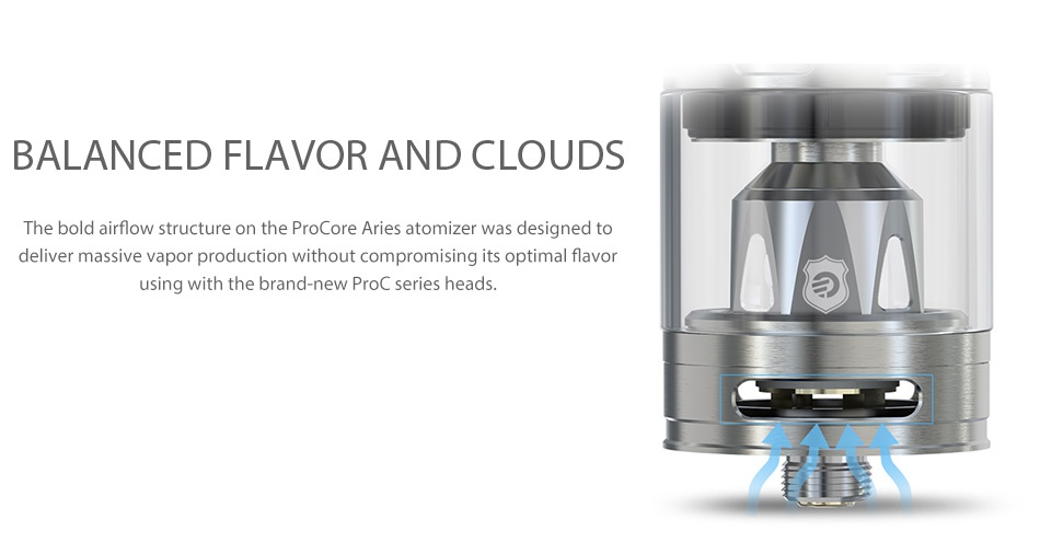 Joyetech eVic Primo 2.0 228W with ProCore Aries Full Kit BALANCED FLAVOR AND CLOUDS The bold airflow structure on the ProCore Aries atomizer was designed to deliver massive vapor production without compromising its optimal flavor using with the brand new ProC series heads