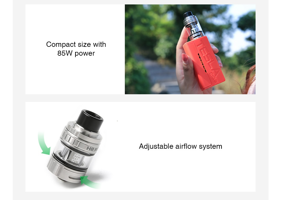 Tesla WYE 85W TC Kit with H8 Mini Tank Compact size with 85W power Adjustable airflow system
