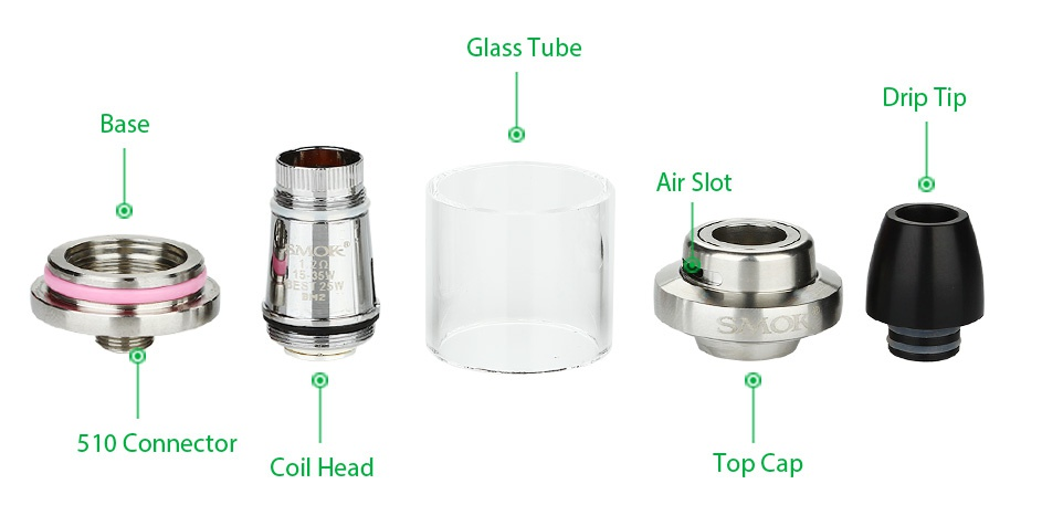 SMOK Quantum Brit Mini 80W TC Start Kit Glass Tube Drip tip Air slot 510 Connector Coil head Top Ca