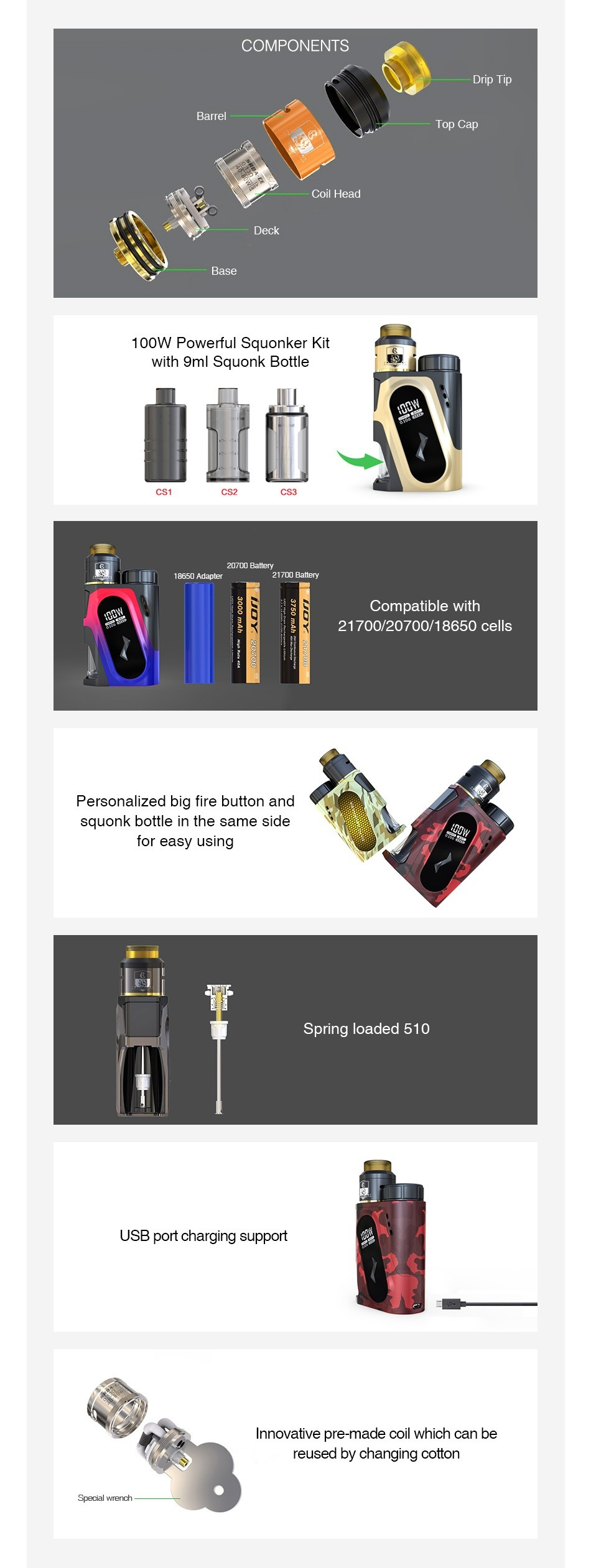 IJOY CAPO SRDA 100W 20700 Squonker Kit 3000mAh COMPONENTS op Cap Coil head 100W Powerful Squonker kit with gml Squonk Bottle Compatible with 21700 20700 18650cel Personalized big fire button and squonk bottle in the same side Spring loaded 510 USB port charging support Innovative pre made coil which can be eused by changing cotton Spooial ronon