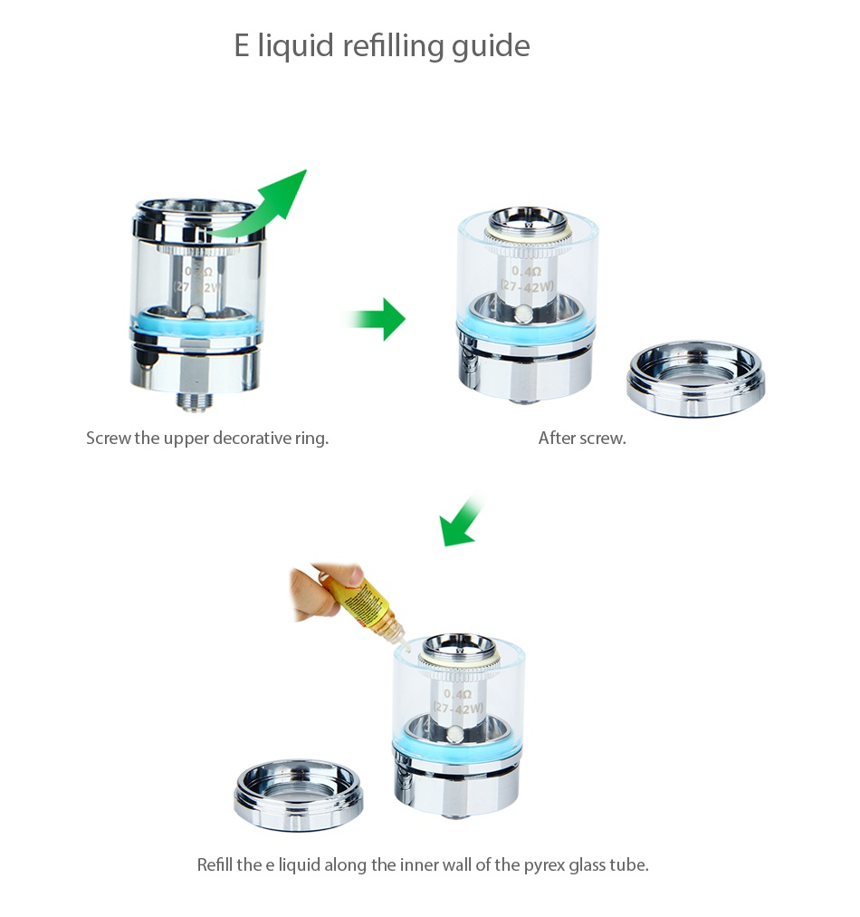 Beyang H-legend-7 VV Kit quid refilling guide Screw the upper decorative ring After screw Refill th long the ner wa f the pyrex glass tube