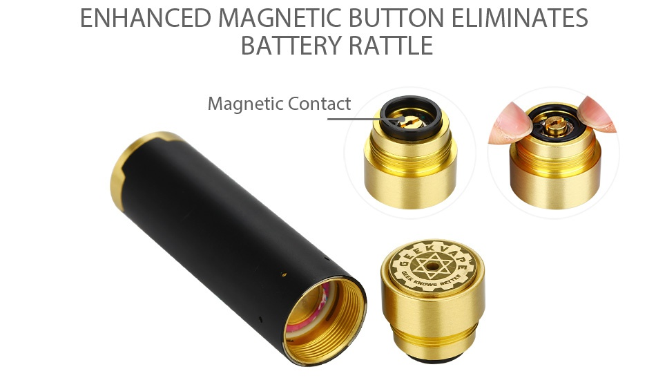 GeekVape Tsunami Mech Kit ENHANCED MAGNETIC BUTTON ELIMINATES BATTERY RATTLE Magnetic Contact