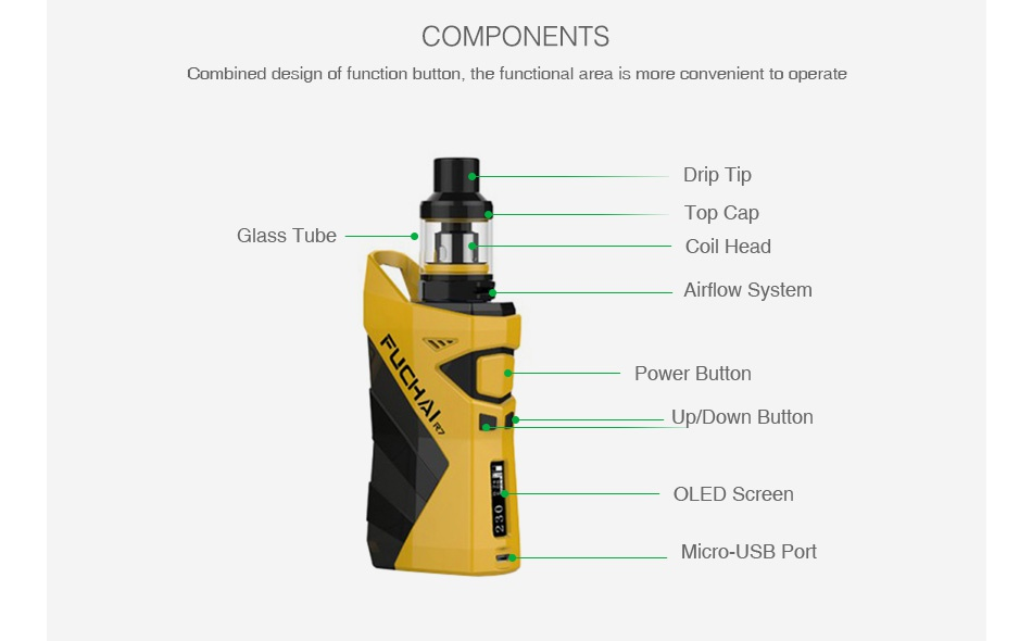 Fuchai R7 230W TC Kit with T4 Tank COMPONENTS Combined design of function button  the functional area is more convenient to operate Drip ti Top Cap Glass Tube Coil Head Airflow System Power butto Up Down Button OLED Scree Micro USB Port