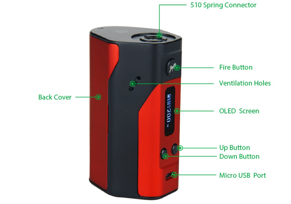 WISMEC Reuleaux RX200 TC Express Kit 510 Spring Connecto Fire button Ventilation holes Back cover OLED Screen Up Button Down button Micro usb port