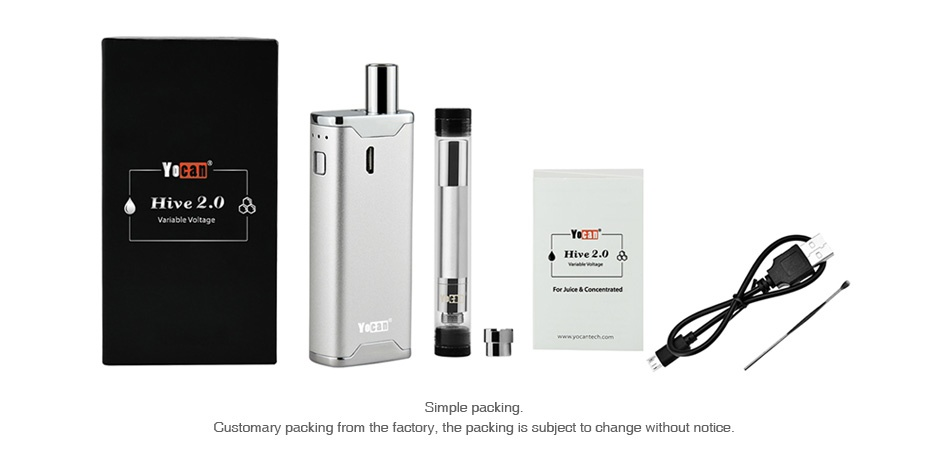 Yocan Hive 2.0 VV AIO Kit 650mAh Yohan Hive 2 0 A Hive 2 0 8 Simple packing Customary packing from the factory  the packing is subject to change without notice