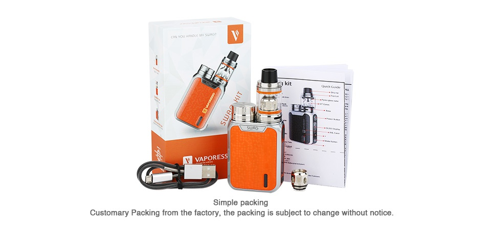 Vaporesso Swag 80W TC Kit with NRG SE Tank 2ml/3.5ml Simple packing Customary Packing from the factory  the packing is subject to change without notice