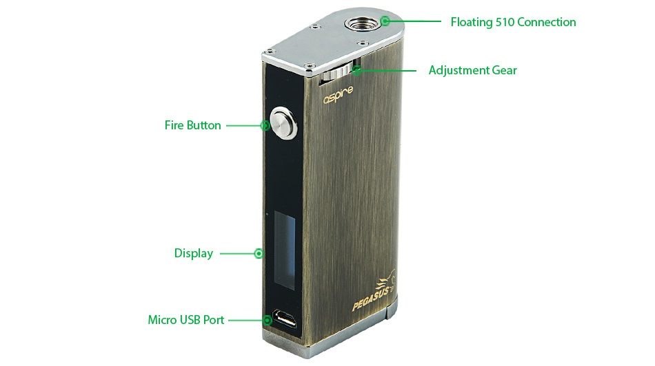 Aspire Pegasus 70W TC Box MOD Floating 510 Connection Adiustment Gea Fire button Micro usB port
