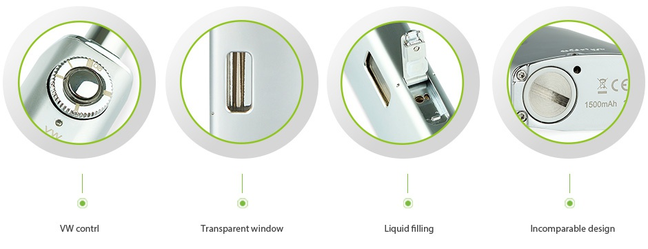 Joyetech eGrip 20W VW Kit Silver 1500mAh 1500mAh VW contrl Transparent window Liquid filling Incomparable design