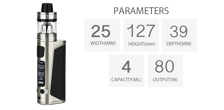 Joyetech eVic Primo Mini 80W with ProCore Aries Kit PARAMETERS 2512739 WIDTH MM  HEIGHT mm  DEPTH MM  480 CAPACITY ML OUTPUT W