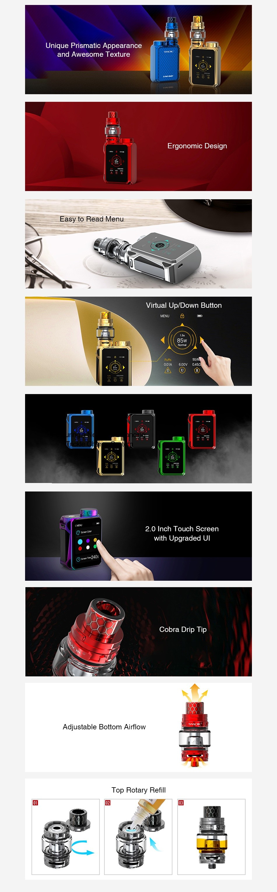 SMOK G-PRIV Baby 85W with TFV12 Baby Prince Kit Luxe Edition Unique Prismatic Appearance and Awesome Texture Easy to Read Menu Virtual Up Down Button 2 0 Inch Touch Screen with Upgraded Ul Cobra Drip Tip Adjustable Bottom Airflow Top Rotary Refil