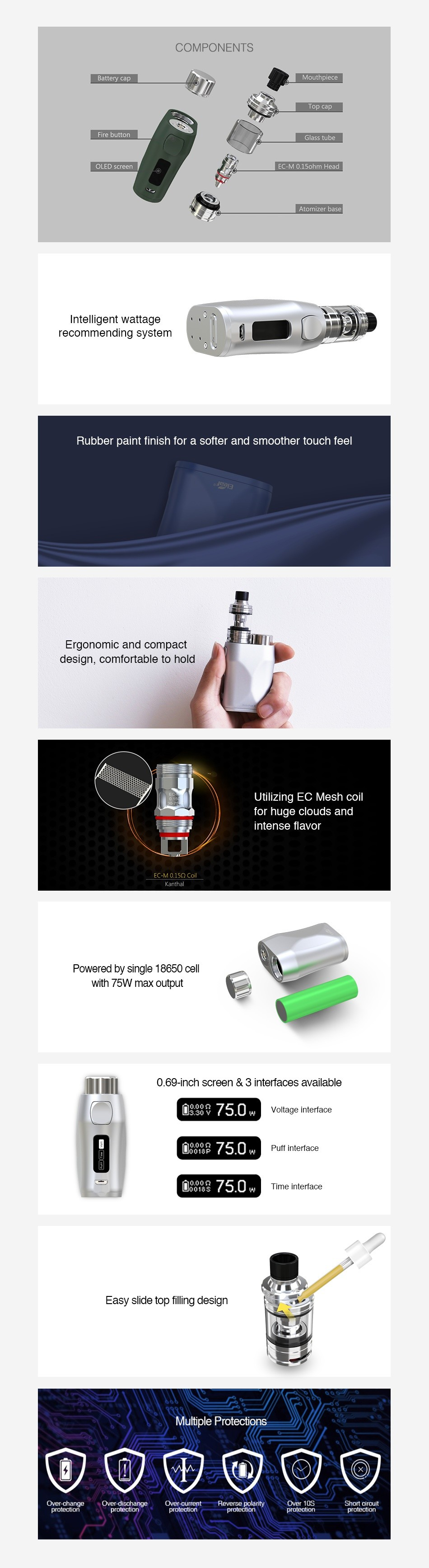 Eleaf iStick Pico X 75W TC Kit with Melo 4 Atomizer COMPONENTS recommending system Rubber paint finish for a softer and smoother touch feel Ergonomic and compact uT design  comfortable to hold Powered by single 18650 cell with 75w max outout 0 69 inch screen 3 interfaces available 938750Wme 88750w Puff interlace 10018975 0 w Time interface Multiple Protecti