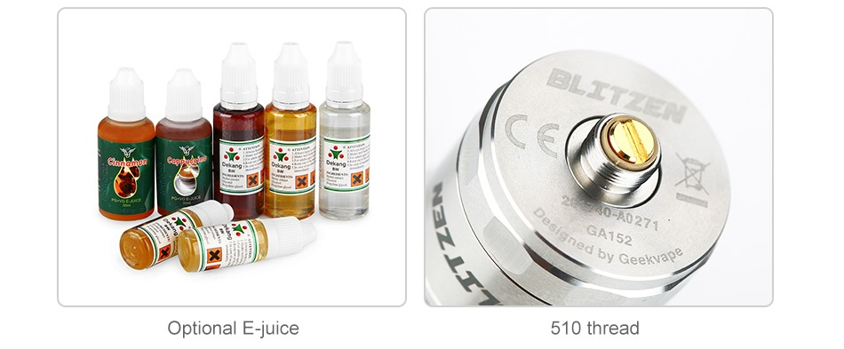 GeekVape Blitzen RTA 2ml/5ml Optional E juice 510 thread