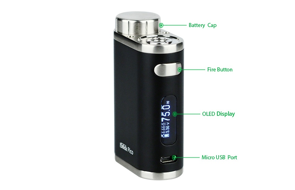 Eleaf iStick Pico 75W TC Full Kit Battery Cap Fire butte   OLED Display y Micro usB port
