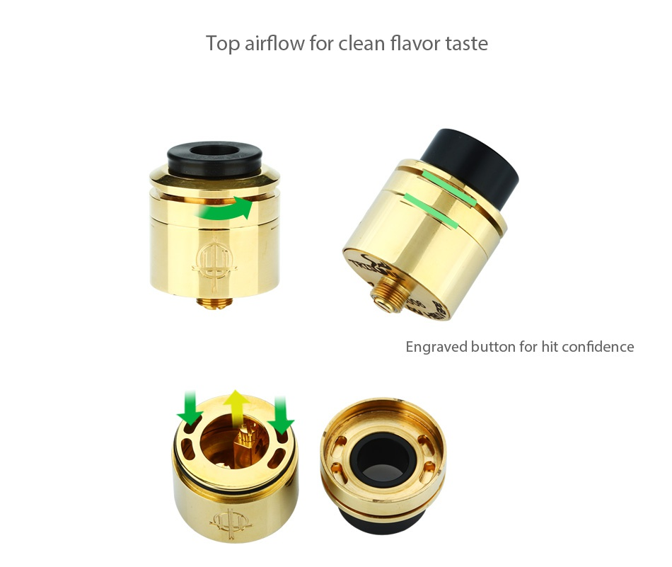 Hellvape Trishul MECH MOD Kit Top airflow for clean flavor taste Engraved button for hit confidence