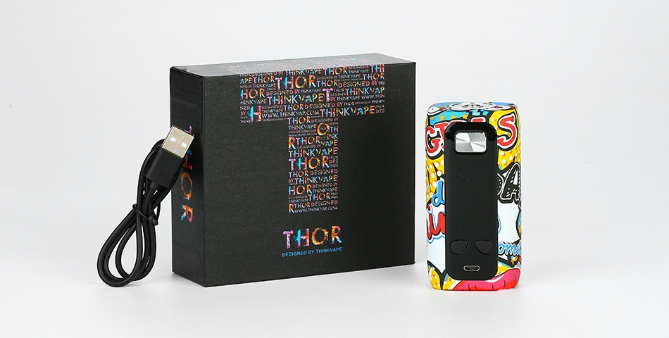Think Vape Thor 200W TC Box MOD   o Punk Passionate Tiger Graffiti C Blue Black chroi Red Letters Skull Flag Devil