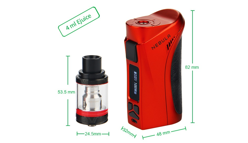 Vaporesso Nebula 100W TC Kit with Veco Plus Tank 4ml 4 ml Juice 82 mm 53 5mm 24 5mm