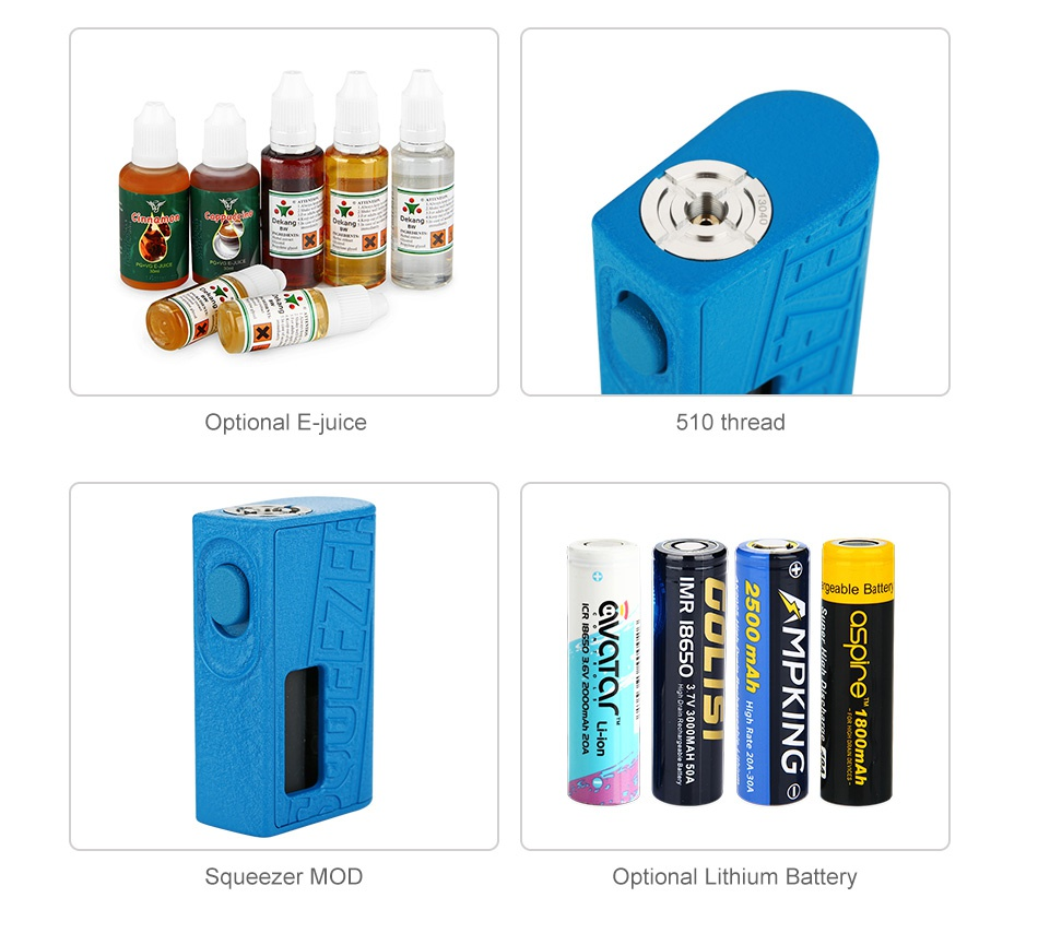 Hugo Vapor Squeezer BF 20700 Kit with N RDA Optional E juice 510 thread mn Squeezer MOD Optional Lithium Battery