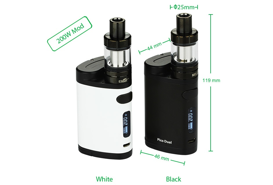 Eleaf Pico Dual 200W TC Full Kit  25mm 119mm White Black