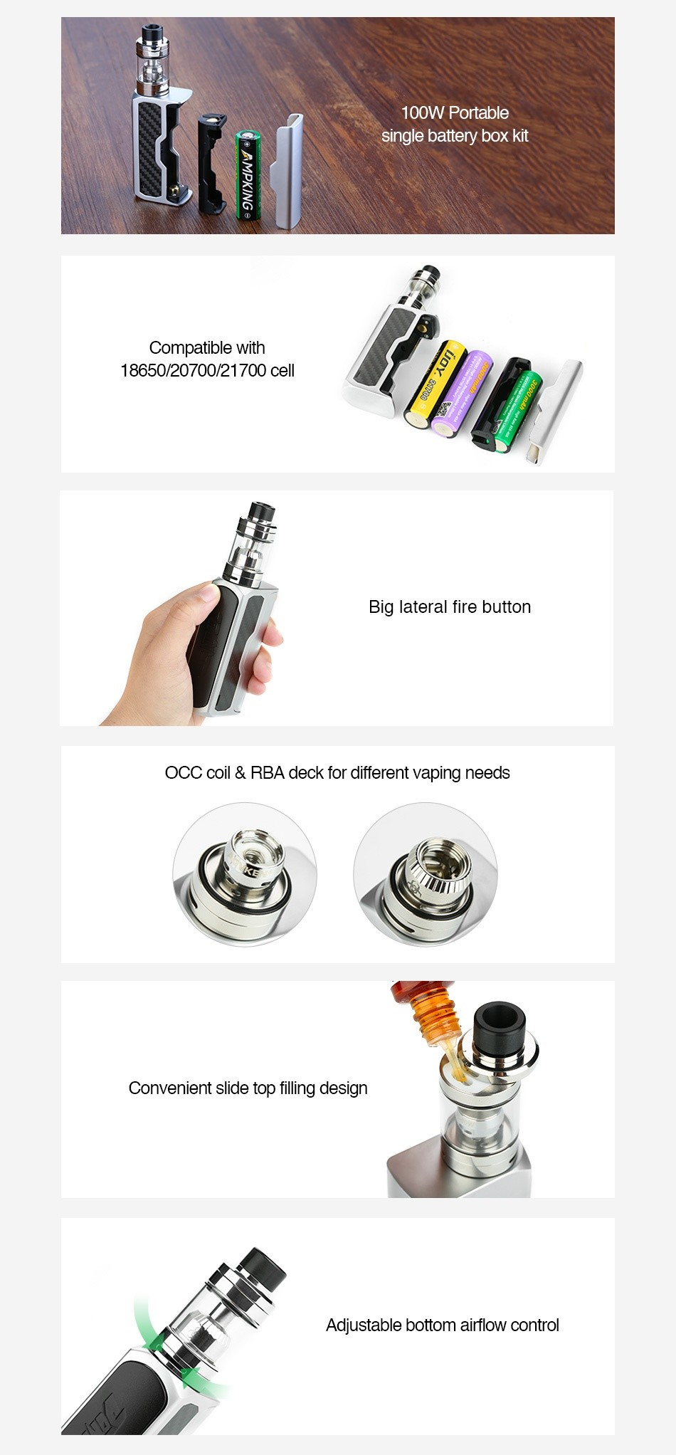Advken Dominator 100W TC Kit RBA Deck Version 100W Portable single battery box kit Compatible with 1865020700 21700cel Big lateral fire button OCC coil rba deck for different vaping needs Convenient slide top filling desig Adiustable bottom airflow contro