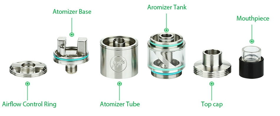 WISMEC Cylin RTA Atomizer Kit 3.5ml Aromizer tank Atomizer base Mouthpiece Airflow Control Ring Atomizer tube T p cap