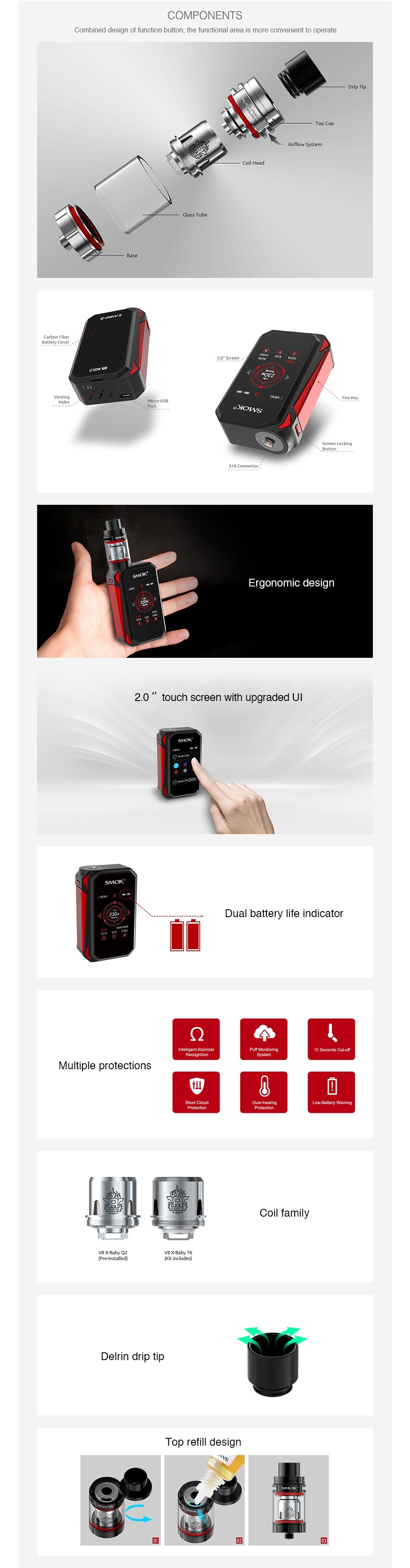 SMOK G-PRIV 2 230W with TFV8 X-Baby Kit COMPONENTS ConLitnad ues gn uf functon bu Lrl  Lhe luriclionral aea is Imole uorIvefErIl IU pale Ero Multiple protections Coil family Delrin drip tip