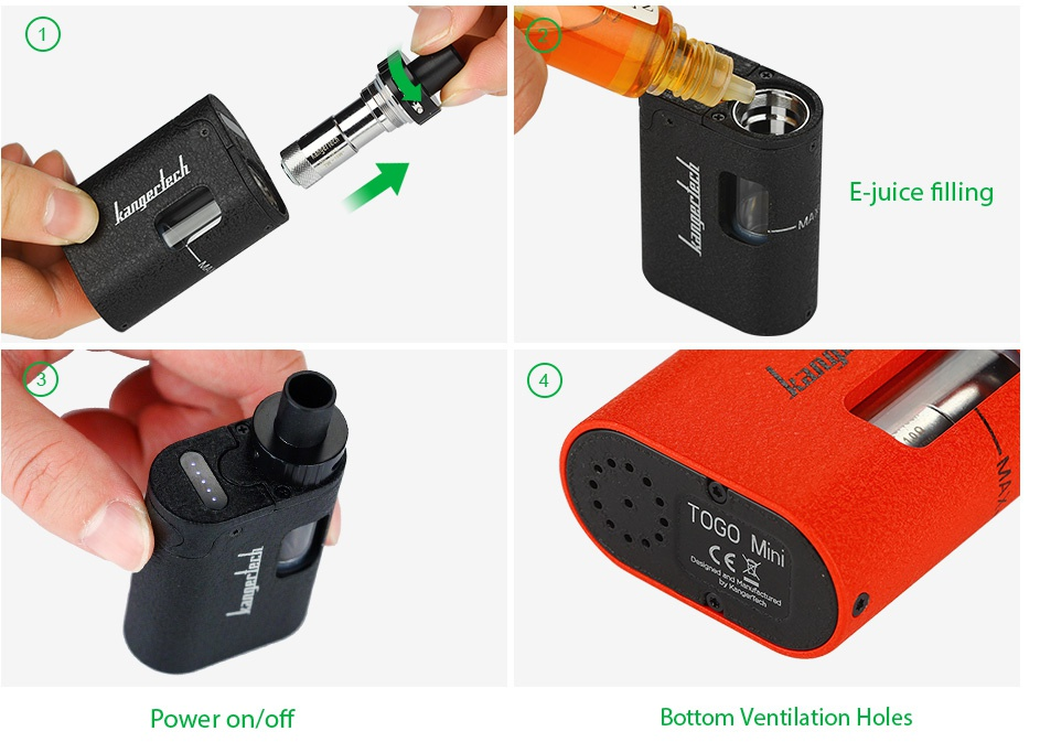 Kangertech TOGO Mini Starter Kit 1600mAh  Juice nIlIng Power on off Bottom ventilation holes