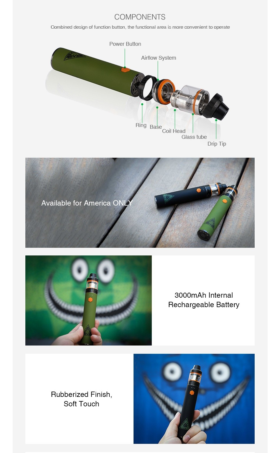 [US ONLY] Innokin AMVS Starter Kit 3000mAh COMPONENTS Combined design of function button  the functional area is more convenient to operate Power button Airflow System Base Coil head Glass tube Drip I ip Available for America ONL 3000mAh Internal Rechargeable Battery Rubberized finish Soft touch