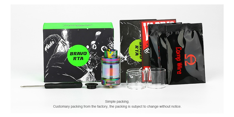 WOTOFO BRAVO RTA 4.5ml/6ml BRAVO RTA Simple packing Customary packing from the factory  the packing is subject to change without notice