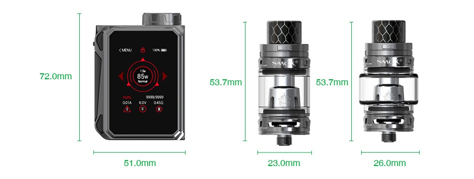 SMOK G-PRIV Baby 85W with TFV12 Baby Prince Kit Luxe Edition   scK 72 0mr 53 7mm 53 7mm 51 0mm 23 0mm 26 0mm