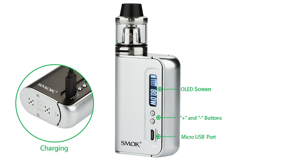 SMOK OSUB 80W TC Plus Starter Kit 3300mAh OLED S d  bUtton Micro usB port Charging SMOK