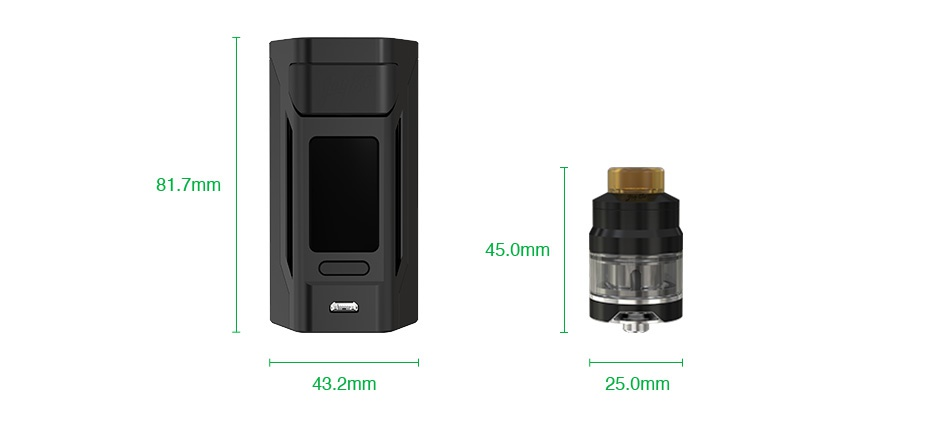 WISMEC Reuleaux RX2 20700 200W with Gnome TC Kit 81 7mm 45 0mm 43 2mm 25 0mm