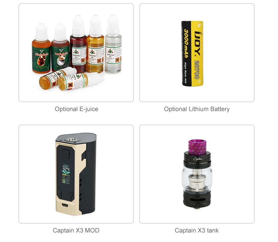 IJOY Captain X3 324W 20700 TC Kit ithium Battery Captain 3MoD Captain X3 tank