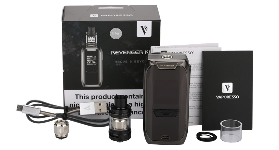 Vaporesso Revenger TC Kit with NRG Mini 220W v O  ss Rev NG R ABOVE D BEYO This produgmentall VAPORESSO hid nc