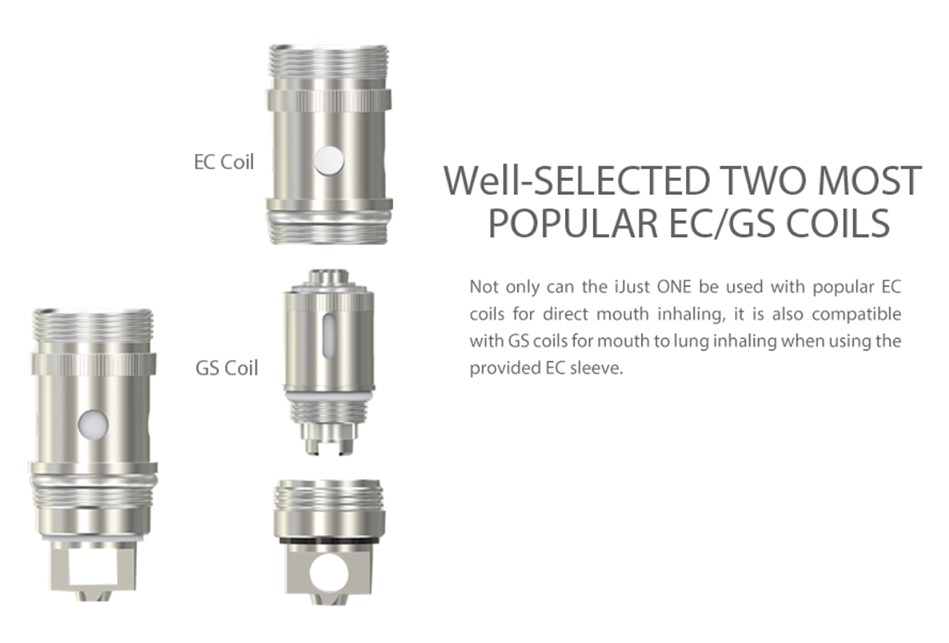 Vaporesso Nebula 100W TC Kit with Veco Plus Tank 2ml EC Coil Well SELECTED TWO MOST POPULAR EC GS COILS Not only can the iJust oNe be used with popular EC coils for direct mouth inhaling it is also compatible with GS coils for mouth to lung inhaling when using the GS Coi provided EC sleeve
