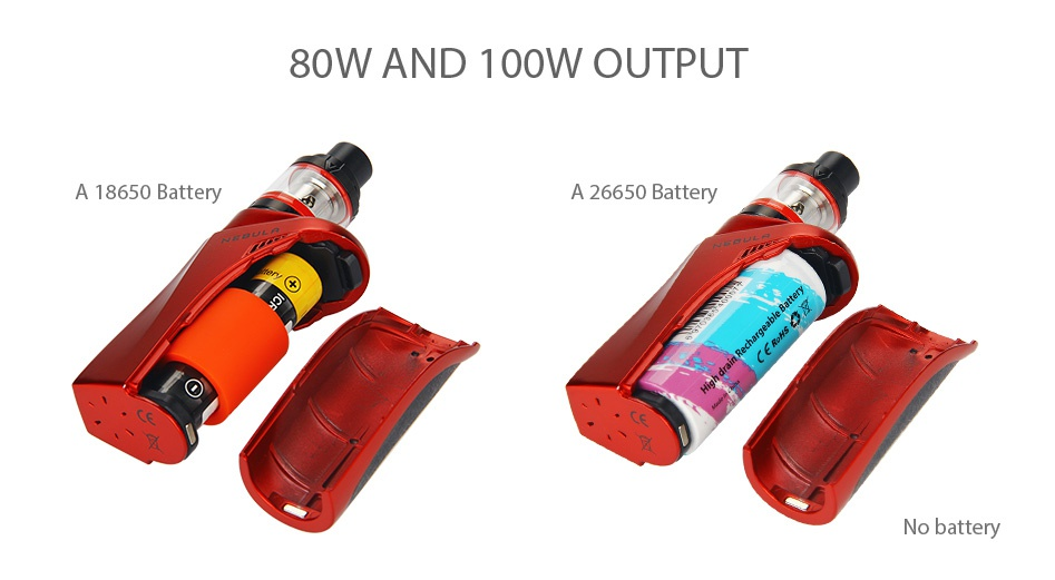 Vaporesso Nebula 100W TC Kit with Veco Plus Tank 4ml 80W AND 100W OUTPUT A 18650 Battery A 26650 Battery No batte