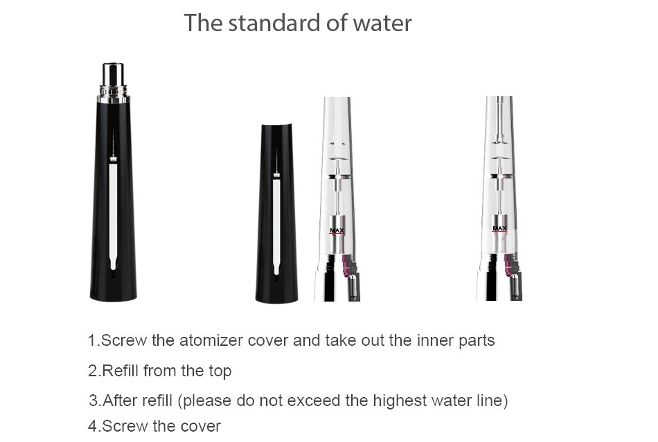 Beyang H-legend-7 VV Kit The standard of water 1 Screw the atomizer cover and take out the inner parts 2  Refill from the top 3  After refill please do not exceed the highest water line 4 Screw the cover