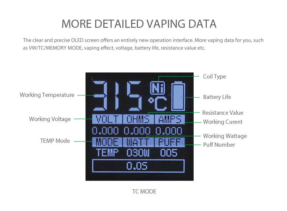 SMOK Alien Baby AL85 TC Starter Kit MORE DETAILED VAPING DATA The clear and precise OLED screen offers an entirely new operation interface  More vaping data for you  such as VW TC MEMORY MODE  vaping effect  voltage  battery life  resistance value etc  Coil type Working Temperature   Battery Life Resistance value Working Voltage OLT OHMSAMPS Working Curent TEMP Mode MODE WATT FUFF I Working Wattage Puff numbe TEMP 030L 005 0 s TC MODE