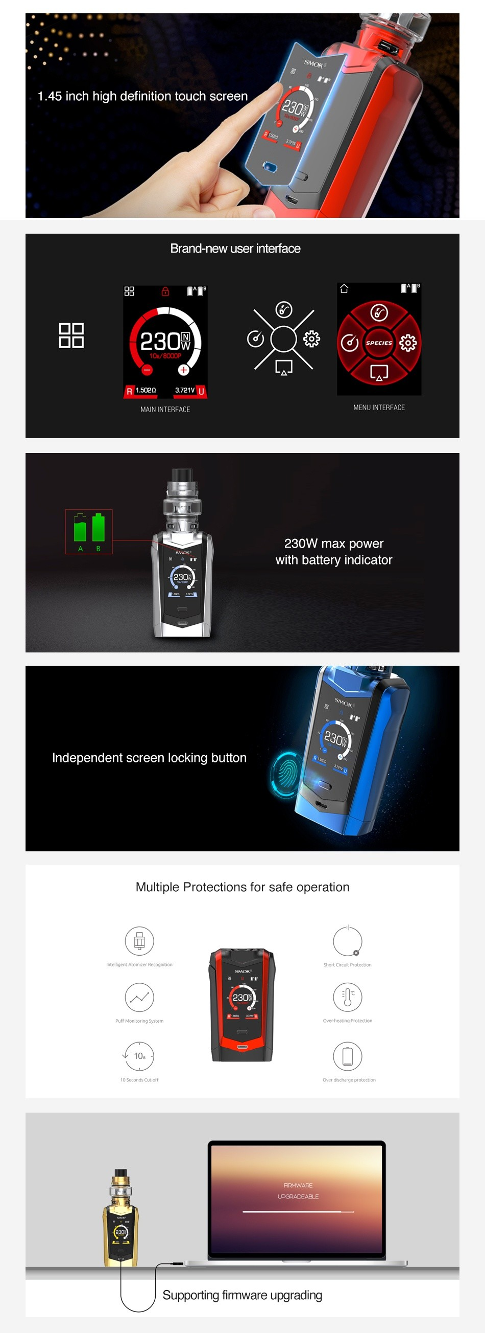 SMOK Species 230W Touch Screen TC Box MOD sMOK 230 30 230 230     Black red Red black Gold black Prism blue black SMOK 230 230 230 230     Prism chrome green black White red 7 Color and black and black
