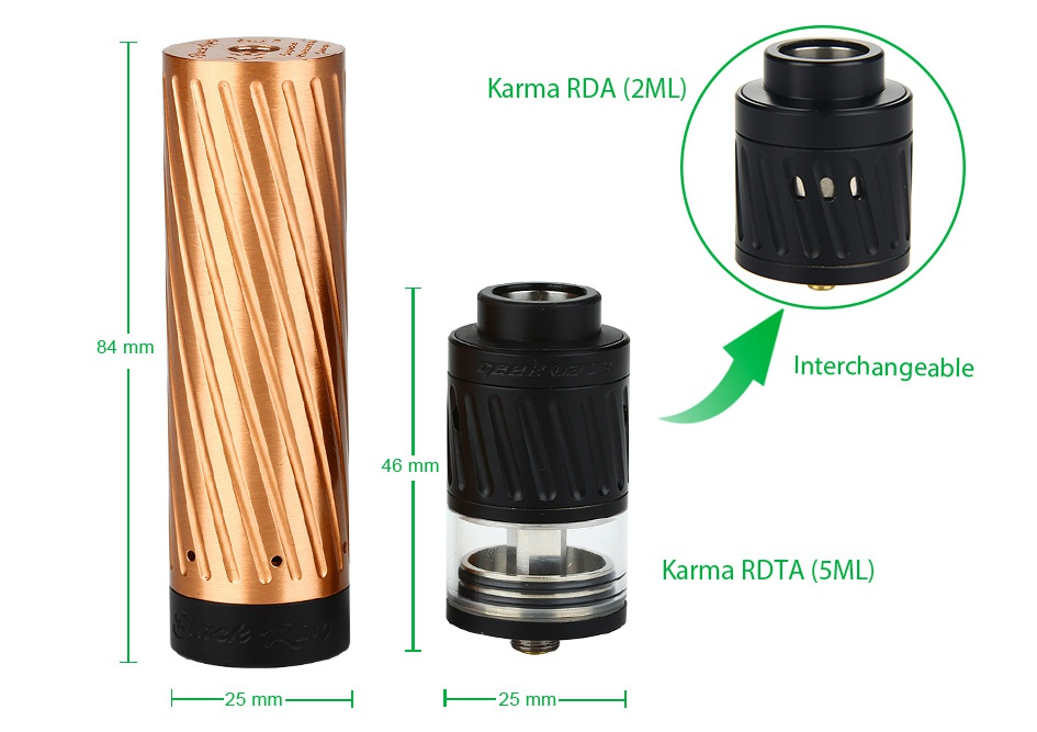 GeekVape Karma Kit Karma RDa  2ML  84 mm Interchangeable 46 mm Karma RITA   5ML 25 mm
