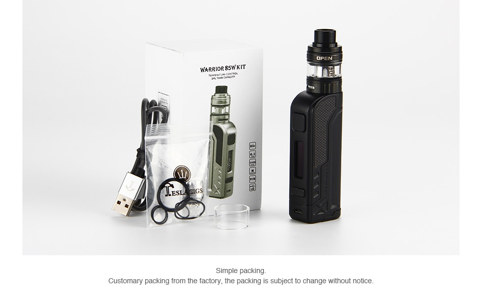 Tesla Warrior 85W TC Kit with H8 Mini Tank KIT    Simple packing Customary packing from the factory  the packing is subject to change without notice