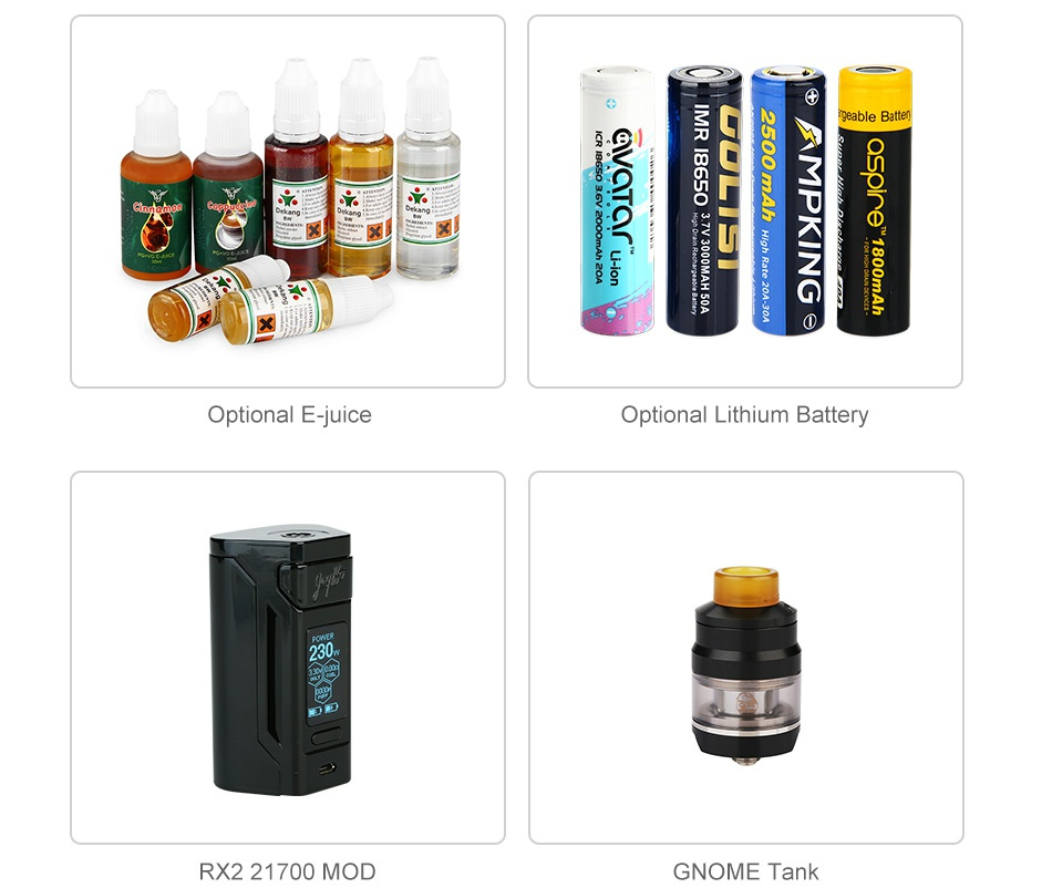 WISMEC Reuleaux RX2 21700 230W with Gnome TC Kit 8000mAh geable Batten Optional E juice Optional Lithium Battery RX2 21700 MOD GNOME Tank