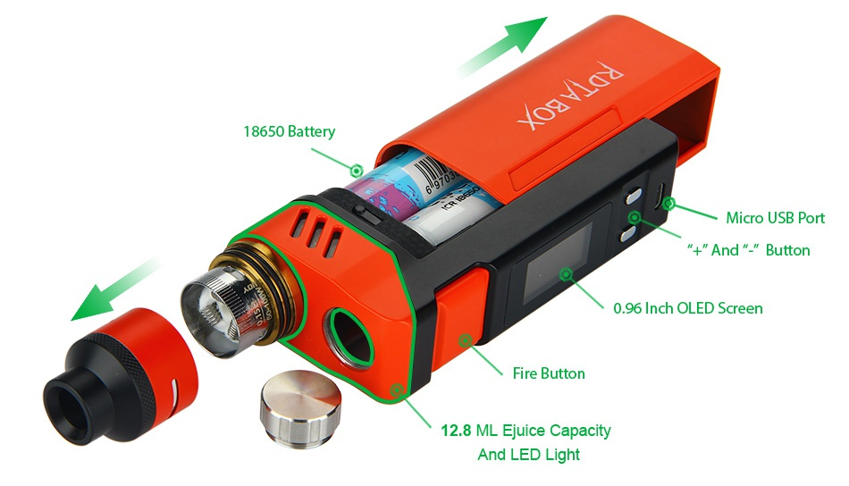 IJOY RDTA BOX 200W Full Kit 18650 Battery Micro usB port   and     Button 0 96 Inch olED Screen Fire button 12 8 ML Juice Capacit And LED Light