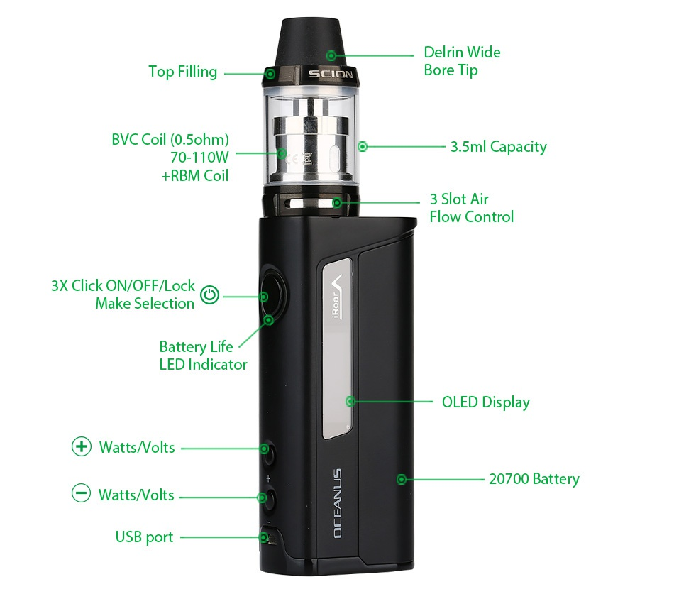 Innokin OCEANUS Scion 110W 20700 VW Kit 3000mAh Delrin wide s  Bore Tip C Coil 0 ohm 3 5ml Capacit 70 110W  rbm coil 3 Slot air Flow control 3X Click ON OFF Lock Make selection Battery Life LED Indicator OLED Display  Watts olts 20700 Battery Watts olts USB port