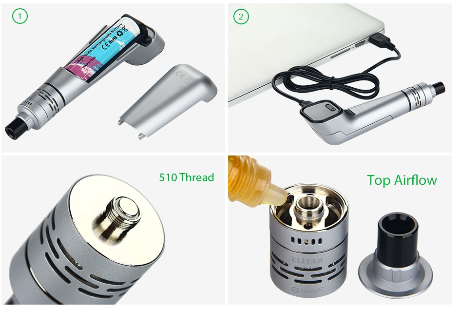 Joyetech Elitar Pipe TC Starter Kit 510 Thread Top Airflow