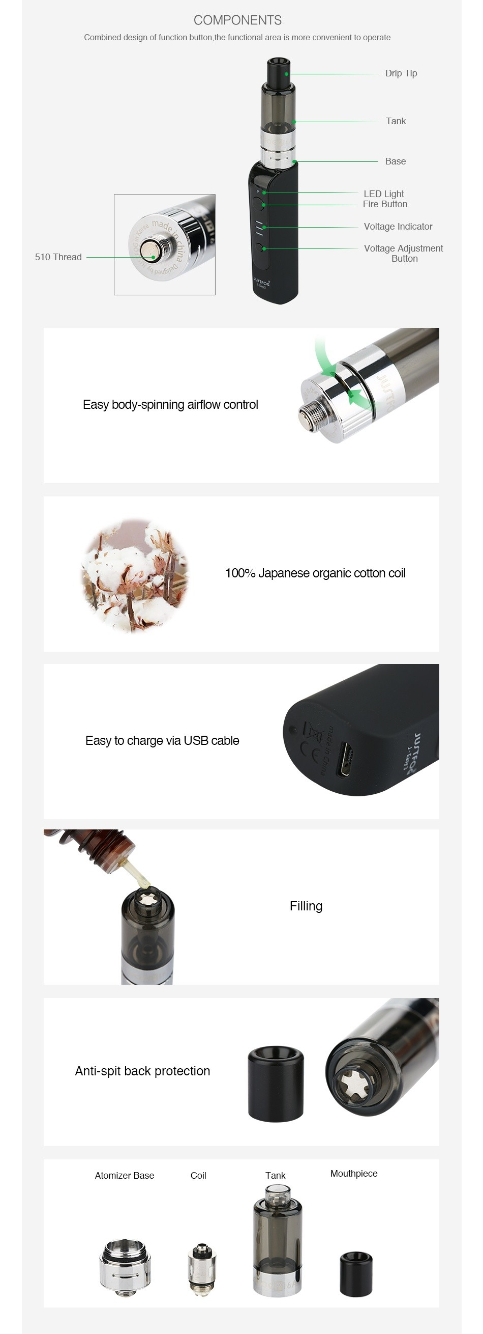 JUSTFOG P16A VV Starter Kit 900mAh COMPONENTS Combined design of function button  the functional area is more convenient to operate Dri Tank Voltage Adjustmen 10 Thread Button Easy body spinning airflow control 100  Japanese organic cotton coil Easy to charge via usB cable Filling Tank utnplece